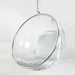 Kardiel Bubble Hanging Chair, Industrial Silver Cushion - Eero Aarnio designed the original Bubble chair in 1968 while residing in Finland. The industrial modernist design of the chair provides for a seating experience that is simultaneously encapsulating and transparent at the same time. The floating feeling is accomplished by suspending the Bubble chair in mid air using the built in Stainless steel frame arch or mounting to the ceiling using the ceiling mount version. Aarnio selected a synthetic upholstery to provide the modern industrial feel he was intending for the chair. Although the bubble chair takes up similar physical space as a standard chair, from a design perspective the transparent chair floating off the ground provides a whimsical feeling of airiness. This precision reproduction of the original uses the same high quality Acrylic shell, premium stainless steel frame and retro futuristic silver upholstery.