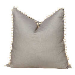 """PillowFever - Linen Pillow Cover in Grey with Off White PomPom Trim, 19""""x19"""" - Pillow insert is not included!"""