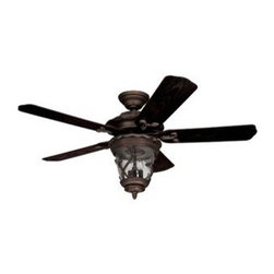 "Hunter Fans - Meadow Ceiling Fan by Hunter Fans - With Art Nouveau accents on its lantern-style Clear Seeded glass shade and rich Midnight Copper finish, the Hunter Fans Meadow Ceiling Fan dresses up a patio just as easily as it circulates the air. The waterproof plastic blades mimic Walnut-stained wood, allowing the Meadow to remain beautiful and strong even under damp conditions.For more than 120 years, Hunter Fans has combined traditional craftsmanship with modern technical and design innovations to pioneer new and smarter ways to circulate air in the home. The entire line of Hunter ceiling fans testifies to their dedication to quality and fashion-forward design.The Hunter Fans Meadow Ceiling Fan is available with the following:Details:Stainless steel constructionMidnight Copper finishClear Seeded glass shade5 Walnut Weatherproof Plastic BladesRound ceiling canopy2.5"" downrod52"" blade diameter12-degree blade pitch2-position mounting systemDecorative fan danglesLifetime warrantyUL Listed for damp locations. Install in protected, fully covered outdoor locations only. More about UL Listings.Lighting:Three 40 Watt 120 Volt Candelabra Base Incandescent lamps (included).Shipping:This item usually ships within 1-2 weeks."