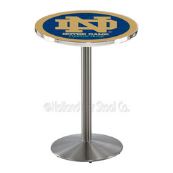 Holland Bar Stool - Holland Bar Stool L214 - Stainless Steel Notre Dame (Nd) Pub Table - L214 - Stainless Steel Notre Dame (Nd) Pub Table belongs to College Collection by Holland Bar Stool Made for the ultimate sports fan, impress your buddies with this knockout from Holland Bar Stool. This L214 Notre Dame (ND) table with round base provides a commercial quality piece to for your Man Cave. You can't find a higher quality logo table on the market. The plating grade steel used to build the frame ensures it will withstand the abuse of the rowdiest of friends for years to come. The structure is 304 Stainless to ensure a rich, sleek, long lasting finish. If you're finishing your bar or game room, do it right with a table from Holland Bar Stool. Pub Table (1)