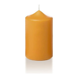 "Neo-Image Candlelight Ltd - Set of 12 - Yummi 2.25"" x 3"" Harvest Gold Slim Pillar Candles - Our unscented 2.25""x3"" Slim Pillar Candles are ideal when creating a beautiful candlelight arrangement for the home or wedding decor.  Available in 44 trendy candle colors hand over dipped with white core to match and compliment your home decor or wedding centerpiece decoration."