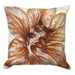 123Creations - Flower Needlepoint 18 x 18 Pillow - 100% Wool Hand Embroidered  123Creations - C820-18X18