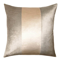 Square Feathers - Mayfair Pillow, Ivory Band Pillow - Unlike its counter part, the Mayfair Ivory band pillow has grey surrounding its center. This pillow is complete with a scallop ribbon trim.