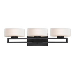 Z-Lite - Z-Lite 3012-3V Cetynia 3 Light Bathroom Vanity Light - This triple vanity light, finished on bronze rails and rounded matte opal glass, has a stylish modern look.Specifications: