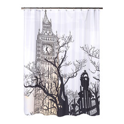 """Big Ben"" Fabric Shower Curtain - ""Big Ben"" Heavier Weight Fabric shower curtain, 100% polyester, size 70""x72"". Take a journey to London with our ""Big Ben"" print Fabric Shower Curtain. Made to fit standard-sized bathtubs or showers (curtain measuring 70'' w x 72'' l), ""Big Ben""  is made with a premium quality polyester fabric, giving it added weight and durability. This curtain is both machine-washable and water repellant (no liner required). Machine wash in warm water, tumble dry, low, light iron as needed"