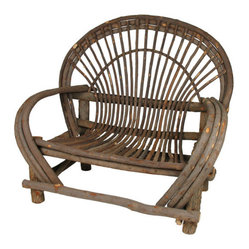 Mexican Artisans - Bent Wood Loveseat - If you've ever wished you could live in a treehouse, here's the next best thing. This rustic bentwood love seat, hand-crafted of willow wood, offers a wonderful way to get close to someone you care for in your chosen rustic setting.