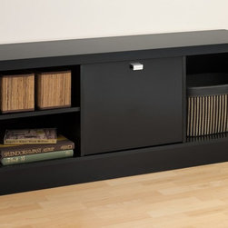 """Prepac - Black Series 9 Designer Cubbie Bench with Door - Make storage simple with the Black Series 9 Designer Cubbie Bench. The two side compartments will neatly store books, baskets, boxes and other smaller items, thanks to the adjustable shelves that easily adapt the space to your liking. For those items you want out-of-sight, the center compartment with door includes a metallic pull to make access a snap. Like the other members of the Series 9 Designer Collection, this cubbie bench's thick, bold top and sides make this piece as primed for storage as it is for style.; Three large compartments; Two adjustable shelves; Door features stylish rectangular chrome finished metal pull; Finished in durable glossy black laminate; Constructed from CARB-compliant, laminated composite woods with a sturdy MDF backer; Ships Ready to Assemble, includes an instruction booklet for easy assembly and has a 5-year manufacturer's limited parts warranty.; Proudly manufactured in North America; Dimensions: Assembled dimensions: 53.75""""W"""" x 21.25""""H x 15.25""""D; L&R Cubbie Dimensions: 16.5""""w x 15.25""""h x 14.5""""d; Center Cubbie with Door: 15.25""""w x 15.25""""h x 13""""d"""