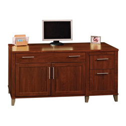 Bush Furniture - Bush Somerset Credenza Computer Desk - Hansen Cherry - WC81729-03 - Shop for Credenzas and Computer Hutches from Hayneedle.com! Executive style doesn't have to come with an executive price. Fool your coworkers into thinking you've landed a major promotion with the Bush Somerset Credenza Computer Desk-Hansen Cherry a rich regal desk that's all business. Beneath the medium wood laminate construction and Hansen Cherry finish are hardworking organizational features: a file drawer for letter-size files a box drawer for miscellaneous office supplies rear wire access to manage cords a sliding keyboard tray with a drop-down front and a discreet CPU compartment with a fixed shelf and self-closing European-style hinges that make sure the doors are never left hanging - even if your officemates' mouths are. Part of the Somerset collection.DimensionsCPU compartment: 11.5W x 22.4D x 20.2H inchesKeyboard tray: 37.5W x 14.5D x 2.6H inchesPrinter compartment: 28.3W x 15.4D x 10.3H inchesBox drawer: 12.2W x 15.7D x 4H inchesFile drawer: 12.2W x 15.7D x 8.9H inchesLower left compartment: 27.6W x 22.4D x 9.1H inchesAbout Bush FurnitureBush Furniture is the eighth largest furniture company in the United States. Bush manufactures high-quality products which are designed to be easily assembled and provide great value for the price. Bush furniture is made from a combination of particleboard fiberboard and solid wood components. The use of real wood components will be noted in the product description if applicable.Bush Industries has over 4 000 000 total square feet of manufacturing warehousing and distribution space. This allows for a very wide selection of high-quality furniture with the ability to ship quickly. All standard residential Bush products carry a generous 6-year warranty. All Bush business furniture including the A series C series and Quantum series is backed by a 10-year warranty from Bush one of the best in the industry.Please note this product does not ship to Pennsylvania.