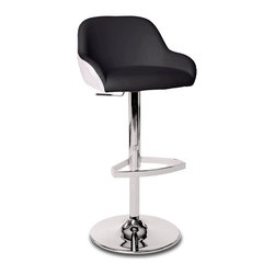 Zuri Furniture - Black & White Monte Swivel Armless Bar Stool - Retro is back with the Monte bar stool! It's black and white two tone will give the room a little edge.