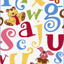 None - Fun White Area Rug (5'3 x 7'3) - Friendly faces and fun letters adorn the Fun White rug. This brightly colored rug features animal characters and oversized letters in shades of yellow,red,green,blue and black on a clean white background.