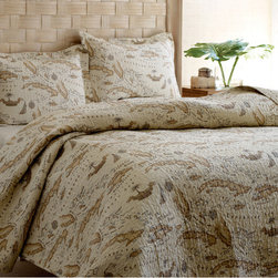 Tommy Bahama - Tommy Bahama Map 3-piece Quilt Set - Give your bedroom Old-World charm with this traditional quilt set by Tommy Bahama. Featuring a detailed vintage-style map print,this set has a unique look. This set is made of 100-percent cotton with a cotton/polyester fill to be soft and comfortable.
