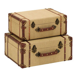 Benzara - Old-Look Burlap Travel Suitcases, Set of 2 - For anyone wanting to travel the world, their journey should never begin without large travel suitcase to store all their belongings, as well as their newly found treasures. Beautifully covered with soft antique style burlap fabric. When not in use they make for stunning decor next to the couch as a makeshift table, or on the floor of the spare bedroom.