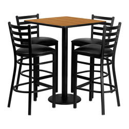 "Flash Furniture - 30'' Square Natural Table Set with 4 Ladder Bar Stools - Black Vinyl Seat - 30"" Square Natural Laminate Table Set with 4 Ladder Back Metal Bar Stools - Black Vinyl Seat. Square Table and Metal Restaurant Bar Stool Set; Set Includes 4 Bar Stools, Square Table Top and Round Base; Metal Restaurant Bar Stool; Ladder Style Back; Black Vinyl Upholstered Seat; 2.5"" Thick 1.4 Density Foam Padded Seat; CA117 Fire Retardant Foam; 18 Gauge Steel Frame; Welded Joint Assembly; Two Curved Support Bars; Foot Rest Rung; Black Powder Coated Frame Finish; Plastic Floor Glides; Lightweight Design; Designed for Commercial Use; Suitable for Home Use; Overall Size: 17""W x 18""D x 42.25""H; Seat Size: 16.75""W x 16.5""D x 31""H; Back Size: 15""W x 12""H; Restaurant/Banquet Table Top; 1.125"" Thick Square Top; Overall dimensions: 30""W x 30""D x 42""H"