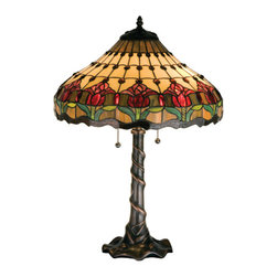 Meyda - 25.5 Inch Height Colonial Tulip Table Lamps - Color theme: Beige Burgundy Pink Amber Xag