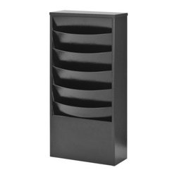 Buddy Products 5 Pocket Steel Curved Literature Wall Rack - This space saving wall racks features 5 attractive curved pockets so magazines and other periodicals keeps their shape and stay upright. Since these racks are modular they can be used in combination with other units to create a custom display. Slotted in the back for easy mounting to any wall. Can be converted to a floor display unit with the addition of the 0817 base unit in matching color.