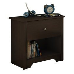 South Shore - South Shore Breakwater Nightstand in Chocolate Finish - South Shore - Nightstands - 3119062 - The Breakwater Nightstand has a laminated particle board construction with a chocolate finish. This nightstand features one drawer and an open compartment for ample storage. It has Smart Glide drawer slides for a smooth gliding motion and metal handles for easy access to your belongings. With sleek, clean straight lines the Breakwater Nightstand will be a perfect compliment to your bed or the corner of your bedroom.