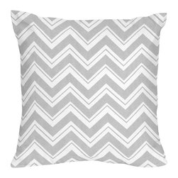 Sweet Jojo Designs - Zig Zag Turquoise and Gray Chevron Decorative Accent Throw Pillow by Sweet Jojo - The Zig Zag Turquoise and Gray Chevron Decorative Accent Throw Pillow by Sweet Jojo Designs, along with the  bedding accessories.