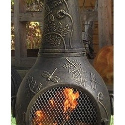 """The Blue Rooster - Dragonfly Chiminea - Spend hours enjoying the fire while dragonflies flutter through the fern leaves. Perfect for backyard gatherings, the Dragonfly chiminea is sure to catch your guests eye. Gather 'round to roast marshmallows or try your hand at open fire grilling. This Blue Rooster chiminea will give you years of enjoyment, and makes a great gift for anyone who loves the outdoors! A large, heavy cast aluminum chiminea, the Dragonfly style is a unique and functional outdoor fireplace design. This large chiminea handles full size fire logs and has an extra large mouth opening for full view of the fire. The hinged safety door provides easy access for adding wood and roasting marshmallows. Features: -Detailed dragonfly and fern design.-Safe single opening traditional chiminea.-Stainless steel hardware.-Traditional 180 degree mouth opening for efficient drafting.-Decorative removable rain lid.-Removable neck for grilling.-Carry handles for easy arrangement.-Cast iron grilling insert.-Cast iron bottom grate to support fire.-Hinged-mouth safety screen.-Spark arrestor neck insert.-Constructed of non-rusting solid cast aluminum alloy.-Powder Coated Finish: No.-Gloss Finish: No.-Material: Cast aluminum alloy.-Fuel Type: Wood.-Fuel Included: No.-Folding: No.-Heat Resistant Coating: Yes.-UV Protected: No.-Rust Resistant: No.-Fade Resistant: No.-Suitable For Use On Wooden Surface: No.-Log Grate Included: Yes.-Spark Screen Included: Yes -Spark Screen Material: Metal..-Fire Poker Included: Yes.-Safety Ring: No.-Built in Cooking Area: Yes -Cooking Grate Included: Yes.-Adjustable Cooking Grate: No..-Handles: Yes.-Cover Included: No.-Swatch Available: No.-Commercial Use: Yes.-Recycled Content: No.Specifications: -CSA Certified: No.Dimensions: -Overall Height - Top to Bottom: 54"""".-Overall Width - Side to Side: 23"""".-Overall Product Weight: 80 lbs.Assembly: -Assembly Required: Yes.-Tools Needed: Phillips screwdriver/ 10mm deep socket & 14mm deep socket.Warranty: -P"""