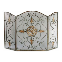 Old World Medallion Wrought Iron Fireplace Screen - *This Attractive Fireplace Screen Is Made Of Wrought Iron. The Dark Brown Basecoat Is Covered With A Semi-transparent Dark Gray Wash And A Tan Glaze. The Perfect Finishing Touch To A Fireplace.