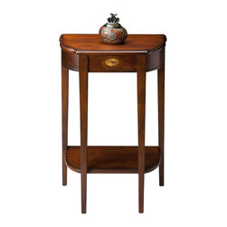 Butler - Console Table in Plantation Cherry with Inlay Design - Selected solid Woods, Wood products and choice veneers.