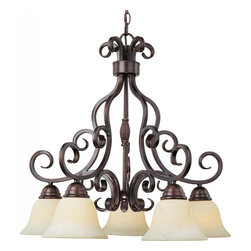 Joshua Marshal - Five Light Oil Rubbed Bronze Frosted Ivory Glass Down Chandelier - Five Light Oil Rubbed Bronze Frosted Ivory Glass Down Chandelier