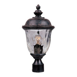 Maxim Lighting - Maxim Lighting Carriage House DC Traditional Outdoor Post Lantern Light - A botanical-themed finial sits proudly on top of this Maxim Lighting outdoor post lantern light. From the Carriage House Collection, this post light features other traditional details including a dome shaped roof and traditional turnings: all of which are brought front and center by the unique color variations of the Oriental Bronze finish. A water glass shade adds a unique flair to this early American-inspired design.