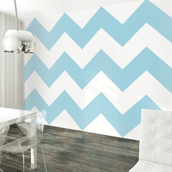 Chevron Aqua/White Removable Wallpaper - A bold pattern in a soothing color gives any room dimension without completely overwhelming the space. Use Chevron Aqua removable wallpaper behind bookshelves, inside a nook or on an accent wall to keep style on the forefront. A pattern and color combination that screams youthful and contemporary will transform your space as quickly as you can peel and stick. Remove later without damaging your paint.