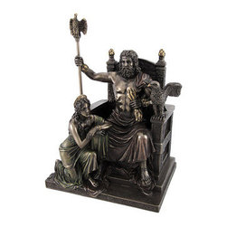 Bronzed Zeus and Hera at the Throne Statue with Colored Accents - Zeus and Hera are the king and queen of the Olympian gods, overseeing the universe. This statue depicts the two of them at the throne, Zeus with lightning bolts and eagle topped staff in hand, and Hera by his side. Made of cold cast resin, it measures just over 11 inches tall, 7 1/2 inches wide, and 5 3/4 inches deep. This piece has a beautiful bronze finish, accented by subtle hints of color to emphasize the details in the folds of the garments, jewelry, and lightning bolts. This piece makes a great gift for mythology buffs that is sure to be admired.