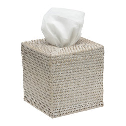 KOUBOO - Square Rattan Tissue Box Cover, White Wash - 4 7/8 inches long x 4 7/8 inches wide x  5.25 inches high (inside dimensions)