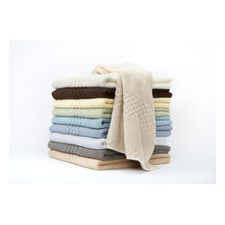 """Towels by G.U.S. - Soft Touch Egyptian Cotton 6-Piece Towel Set, Tile Gray, Set of 2 Bath Towels - Trade up in one """"click"""" with this pret-a-porter collection of one of our most popular sets of pure Egyptian cotton towels. Our Soft Touch Egyptian Cotton Towel Set is composed of super soft, weighty 2-ply fabric that is made from 100% Egyptian cotton and exquisitely detailed with a designer textured checkerboard inlay. These towels come in a variety of colors - warm to cool tones - and are sure to add an element of style to your bath. The 6-piece set includes 2 bath towels, 2 hand towels and 2 wash cloths."""
