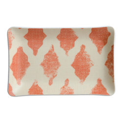 Michael Devine Ltd. - Venice Cellphone Tray, Coral - Beautiful hand silk screened Michael Devine fabric is skillfully laminated to create each delightful and useful piece.  The Venice cellphone tray is incredibly useful for keeping track of the phone or jewelry.