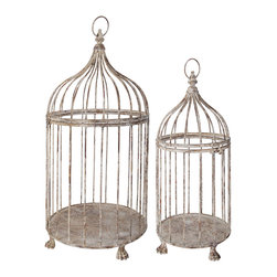 Esschert Design - Aged Metal Birdcages - Set of 2 - Set of 2 Aged Metal Decorative Bird Cages. These unique bird cages each come with pedestal type legs on the base and round ring at the top and lockable door for that authentic look. Small cage measures: 9.2x9.2x21.3. Large cage measures: 12.6x12.6x26.4.