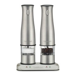 Cuisinart - Cuisinart Rechargeable Salt and Pepper Mill Set - These rechargeable salt and pepper mills present an easy and elegant way to serve freshly ground salt and pepper. Mills sit in a sleek power base and are always fully charged. They run continuously for 15-20 minutes before needing to be recharged.