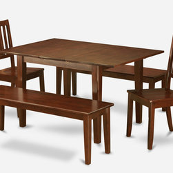 """East West Furniture - 5Pc Picasso Dining Set with 2 Dudley Wood Seat Chairs and 2 Dudley Benches - 5Pc Picasso Dining Table with 2 Dudley Wood Seat Chairs and 2 52"""" Long Benches in Mahogany Finish; These Picasso kitchen sets are beautifully crafted and rich with a mahogany color.; This sleek, yet traditional dinette set contains no plastic, which makes it efficient and environmentally friendly.; The Picasso table & chairs each have a glossy finish, complete with subtle, perfectly beveled edges.; These dinette sets make a cozy addition to any kitchen or conventional dining room and provide seating for up to six people.; Choose between wood and microfiber upholstered seats depending on which table & chairs set fits your ktichen or dining room style.; Weight: 163 lbs; Dimensions: Table: 48 - 60""""L x 32""""W x 30""""H; Chair: 18""""L x 18""""W x 38""""H; Bench: 52""""L x 16""""W x 18""""H"""