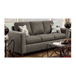 Chelsea Home - 82 in. Transitional Talbot Sofa - Includes toss pillows. Vivid onyx cover. Seating comfort: Medium. Kiln-dried hardwood frame. Stress points are reinforced with blocks to secure long lasting frame. Attached back cushions. Sinuous springing system manufactured with reinforced 16-gauge border wire. Double springs are used on the ends nearest the arms to give balance in the seating. Hi-density foam cores with dacron polyester wrap cushions. Made from 53% polyester and 47% polypropylene. Made in USA. No assembly required. 82 in. L x 38 in. W x 38 in. H (140 lbs.)