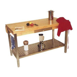 """John Boos - Cucina Grande Prep Table with Butcher Block Top - The Cucina Americana line blends European design with John Boos trademark butcher blocks and food service grade stainless steel to create kitchen equipment that is unique, attractive, and functional. This prep table features a stainless steel base. Features: -Food service grade stainless steel shelf.-Stainless steel towel bar.-Drawer with stainless steel front.-Made in USA.-Solid hard maple construction.-Cucina Americana collection.-Product Type: Kitchen island/work table.-Collection: Cucina Americana.-Counter Finish: Hard rock maple, varnique finish.-Hardware Finish: Zinc coated.-Distressed: No.-Powder Coated Finish: No.-Gloss Finish: No.-Base Material: Stainless steel.-Counter Material: Hard rock maple.-Solid Wood Construction: Yes.-Stain Resistant: No.-Warp Resistant: No.-Exterior Shelves: Yes -Number of Exterior Shelves: 1..-Drawers Included: Yes -Number of Drawers: 1.-Drawer Glide Extension: Yes.-Dovetail Joints: Yes.-Drawer Dividers: No.-Drawer Handle Design: Stainless steel pull & drawer front..-Cabinets Included: No.-Towel Rack: Yes.-Spice Rack: No.-Cutting Board: No.-Drain Groove: No.-Stools Included: No.-Casters (Casters: Included): Yes.-Casters (Casters: Not Included): No-Locking Casters: Yes.-Removable Casters: Yes..-Wine Rack: No.-Stemware Rack: No.-Cart Handles: No.-Finished Back: Yes.-Swatch Available: Yes.-Commercial Use: Yes.-Recycled Content: No.-Eco-Friendly: No.-Product Care: Top-Wipe with mild soap & water, Base & shelf- use stainless steel cleaner.-Country of Manufacture: United States.Dimensions: -Overall Height - Top to Bottom (Size / Drop Leaves: 48"""" W x 28"""" D / Not Included): 35"""".-Overall Height - Top to Bottom (Size / Drop Leaves: 48"""" W x 36"""" D / 1 Included): 35"""".-Overall Height - Top to Bottom (Size / Drop Leaves: 60"""" W x 28"""" D / Not Included): 35"""".-Overall Height - Top to Bottom (Size / Drop Leaves: 60"""" W x 36"""" D / 1 Included): 35"""".-Overall Width - Side to Side (Size / Drop Le"""