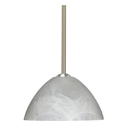 "Besa Lighting - Besa Lighting 1TT-420152-LED Tessa 1 Light LED Stem-Hung Pendant - Tessa has a classical bell shape that complements aesthetic, while also built for optimal illumination. Our Marble glass is a pressed glass that features swirls of white throughout semi-translucent frost, to create a faux alabaster appearance. When lit this gives off a light that is functional and soothing. The smooth satin finish on the clear outer layer is a result of an extensive etching process. This handcrafted glass uses a process where every glass is consistently produced using a press mold, keeping variations to a minimum. The stem pendant fixture is equipped with an adjustable telescoping section, 4 connectable stem sections (3"", 6"", 12"", and 18"") and low Profile flat monopoint canopy.Features:"