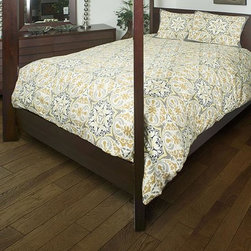 Home Decorators Collection - Tradewinds Bedding Set - The elegant tiling pattern of our Tradewinds Bedding Set is rendered in rich tones of ivory, gold, grey and brown. This cotton comforter and sham set features a vintage-style weave that adds intriguing, soft texture. Match it with other items from our collection of Tradewinds bed linens to create a coordinated ensemble. Comforters feature 100% textured cotton front and 100% cotton back with polyester fill. Machine washable. Queen set includes: Queen comforter, 2 standard shams. King set includes: King comforter, 2 king shams.