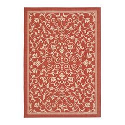 Safavieh - Safavieh Red/ Natural Indoor Outdoor Rug (5'3 x 7'7) - Add this stylish indoor/outdoor rug to your living room or patio. It will brighten up any area you choose to place it. The rug is a warm red with a tan-colored design. It is mold,sun,and water resistant. Its made from polypropylene.