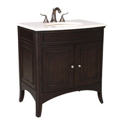 Ambella Home - Verona Medium Sink Chest - This sink chest in the Verona collection features a rich brown with black rubbed finish and an Ivory Cream marble top. Balsa porcelain sink installed.  W035. Dimensions: 33 in. x 23.5 in. x 36 in.