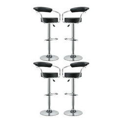 """LexMod - Diner Bar Stool Set of 4 in Black - Diner Bar Stool Set of 4 in Black - The 1950's Diner Bar Stool is a great choice for folks who want supreme comfort in a Bar Stool. Thick cushion greet the user like an old friend, and upholstered back rest invites you to lean back and relax. The base and pole's shiny chrome finish, give it a delightful retro feel; have the best of yesterday today. Set Includes: Four - 50's Diner Bar Stools Genuine Leather, Steel Frame, 3.5"""" Inch Cushion, 360 degree Swivel, Adjustable Height Overall Product Dimensions: 18""""L x 21""""W x 34 - 42.5""""H Seat Height: 24.5 - 33""""H Armrest Height: 29.5 - 37.5""""H - Mid Century Modern Furniture."""