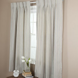 Ellis Curtain - Ellis Curtain Springfield Stripe Pinch Pleat Double Width Curtain Panel - One Pa - Shop for Curtains and Drapes from Hayneedle.com! Turn any drab window area into a beautiful contemporary accent with the Ellis Curtain Springfield Stripe Pinch Pleat Double Width Curtain Panel - One Pair. This lovely set of curtains features a pinch pleat design with rod pockets a durable polyester/cotton fabric construction and foam backing.About A.L. Ellis Inc.Established in 1920 by Arthur Linwood Ellis A.L. Ellis Inc. is a 5th generation family owned and operated manufacturing company. With their headquarters located less than an hour away from the manufacturing facility they can easily control the wholesale business and produce their mail order catalogs. Their hand-made products consist of curtains draperies top treatments bedding toss pillows and chair pads. The main objective for A.L. Ellis Inc. is to always provide customers with high-quality products at a competitive price and in a timely manner. Remaining committed to the customer A.L. Ellis Inc. is a trusted company you can count on. Begin decorating your house with any of their products!