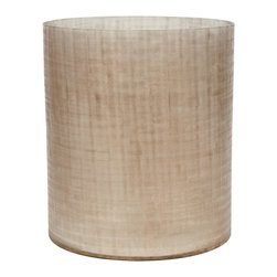 Brushed Glass Waste Basket, Gold - This texturedgoldwaste basket was designed to impress. With an brushed crosshatchpattern unique to each piece, it doubles as a wide base vase and would look great in a bathroom or home office.Since this is a pattern unique to each item, imperfections in the glass are expected.