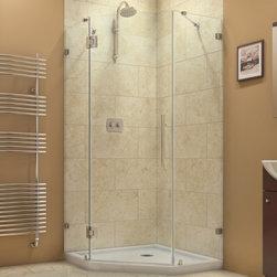 """DreamLine - DreamLine SHEN-2234340-04 PrismLux Shower Enclosure - DreamLine PrismLux 34 5/16"""" by 34 5/16"""" Frameless Hinged Shower Enclosure, Clear 3/8"""" Glass Shower, Brushed Nickel Finish"""