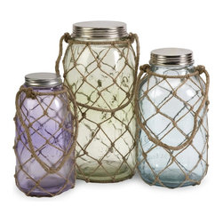 IMAX Worldwide Home - Marci Decorative Glass Jars - Set of 3 - This set of three Marci glass jars feature pastel hues and coastal inspired thin jute netting.. Material: 80% Glass, 10% Iron, 10% Jute. 9.5 in. H x 5.5 in. W x 5.5 in. L. 11 in. H x 5.75 in. W x 5.75 in. L. 12.75 in. H x 6.75 in. W x 6.75 in. L