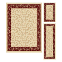 Tayse Rugs - Elegance Beige Blue and Black Area Rug Sets Three Piece Set - - Scrollwork interior with floral border makes this rug a perfect companion to traditional or transitional d�cor. In classic colors that are always in fashion. Ivory with red and gold. Made of soft polypropylene that is easy to clean. Vacuum and spot clean.  - Square Footage: 47  - Pattern: Oriental  - Pile Height: 0.39-Inch  -3 piece rug collection: 5? x 7?, 20 x 60, and 20 x 32 Tayse Rugs - 5402  Ivory  3 Pc. Set