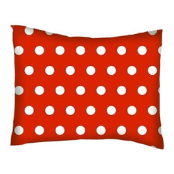 SheetWorld - SheetWorld Twin Pillow Case - Percale Pillow Case - Polka Dots Red - Made in USA - Twin pillow case. Made of an all cotton woven fabric. Side Opening. Features a beautiful 1/2 inch white dot print on a red background.
