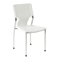 Eurostyle - Terry Side Chair (Set Of 4)-Wht/Chrm - Leatherette seat and back