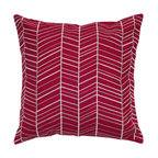 Rizzy Rugs - Red and White 18 x 18-Inch Pillow with Hidden Zipper - - Construction: Embroidery Details.  - Care and Cleaning: Hand Wash and Machine Wash in Cold Water. Lay Flat to Dry. Rizzy Rugs - T05235