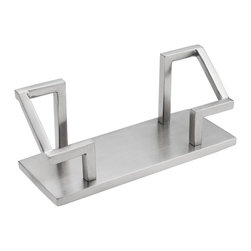 ArtsOnDesk - ArtsOnDesk Business Card Holder Stainless Steel Satin Finish - This Business Card Holder originates from the designer's inspiration to create a unique business card holder which can serve as a useful desk accessory as well as a work of modern art, and moreover it will stand firm without the problem of other holders--- easy to flip over. Made of high quality stainless steel with metallic satin finish, this business card holder is crafted by hand and made with the best workmanship. Its unique design has a patent registered in countries. At the bottom a secret code is laser engraved which hides important collective information. Decoding is provided in a small booklet with the product.  It has 4 pads on the bottom to prevent scratching. Packed in a gift box. Business cards are not included.